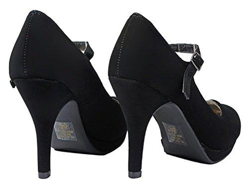 Women Classic Mary-Jane Round Toe Mid Heel Comfort Platform Formal Dress Pumps Black_D-H mVgZI