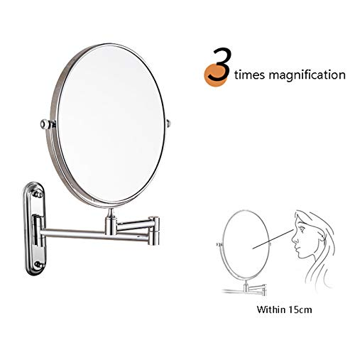 Makeup Mirror Folding Bathroom Wall-mounted Double-sided Vanity Mirror Toilet Wall Hanging Magnifying Beauty Mirror (Color : Stainless steel, Size : 6 inches) by Wall-mounted Folding Mirror (Image #4)