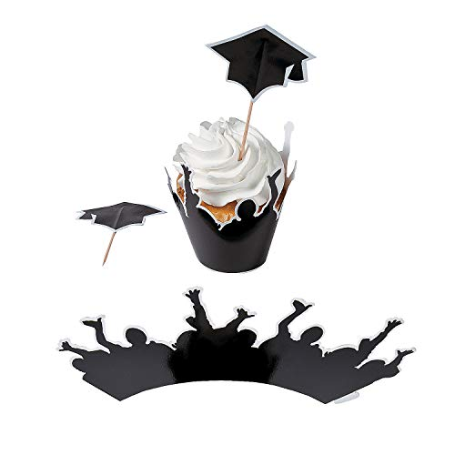 Fun Express - Graduation Cupcake Collars W/Picks for Graduation - Party Supplies - Serveware & Barware - Picks & Stirrers & Parasols - Graduation - 100 Pieces ()