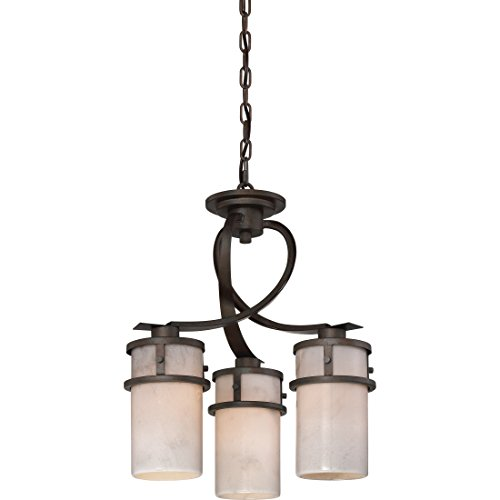 Quoizel KY5503IN Kyle Faux Alabaster Downlight Mini Chandelier, 3-Light, 300 Watts, Iron Gate (20