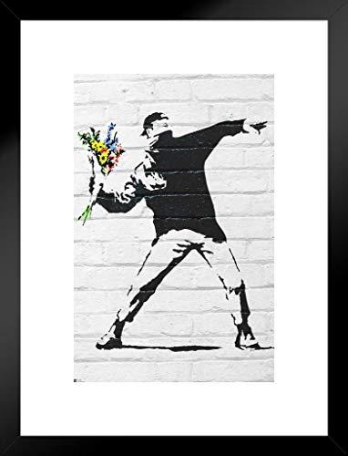 Pyramid America Banksy Flower Bomber Graffiti Art Matted Framed Poster 20×26 inch