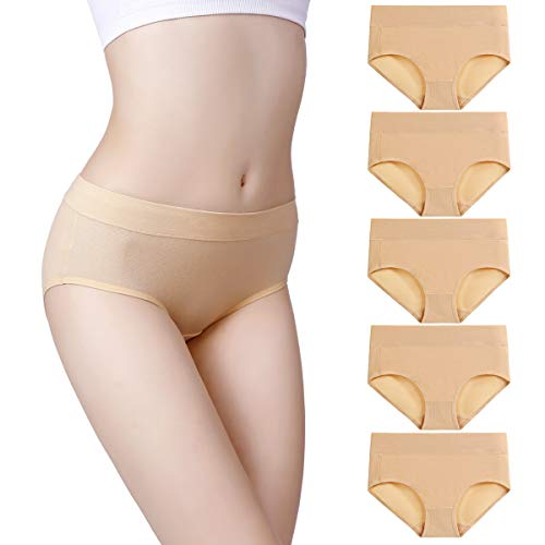 wirarpa Womens Soft Cotton Stretch Underwear 5 Pack Comfortable Mid Rise Briefs Underpants Beige, Large