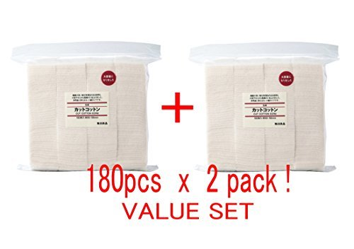 MUJI Makeup Facial Soft Cut Cotton Unbleached 60x50 mm 180pcs x 2 Packs (Total 360 Sheets) Value Set from MUJI