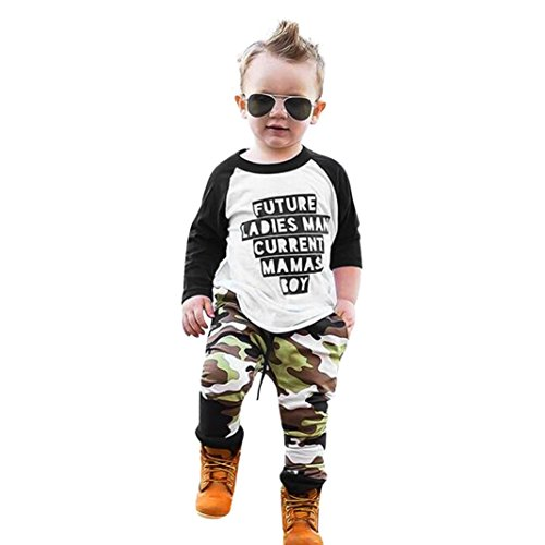 FEITONG Toddler Infant Boy Long Sleeve T-Shirt +Camouflage Pants Outfits Clothes (2Year, White)