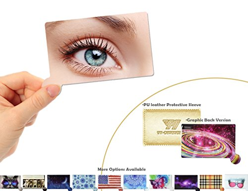 Distortion Compact (Pocket Mirror Compact Hand Held Unbreakable, YH-DIMENSION, Small Purse Wallet Cosmetic Mirror, Clear Refelction No Distortion, Beautiful graphic Back, Light Weight Thin Slim, with Protective Sleeve)