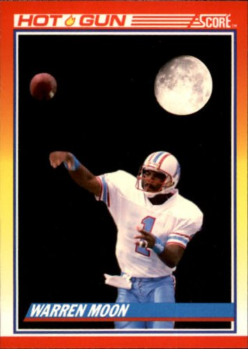 1990 Score Football Card #317 Warren Moon Near (Warren Moon Football)