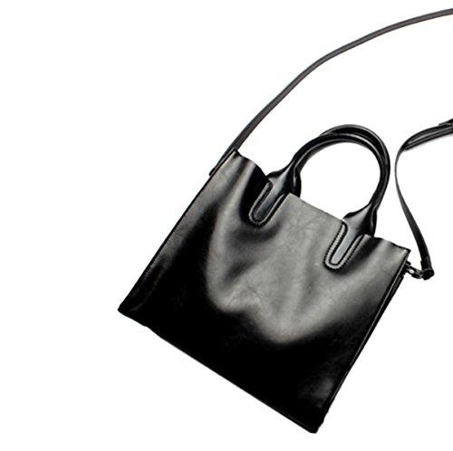 Mujer Nueva PU Tendencia Moda Gran Capacidad Bolso De Mano Sola Bolsa De Hombro Bolso Black