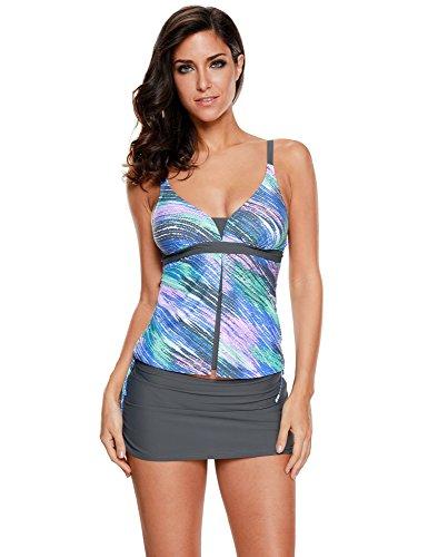 LookbookStore Womens Bluish Print Two-Piece Tankini Skirtini Swimsuit Set Swimwear US 14-16