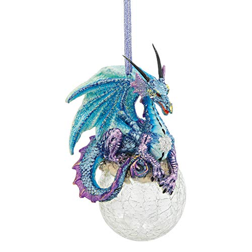 Design Toscano Christmas Tree Ornaments - Frost The Gothic Dragon Holiday Ornament - Snowflake Dragon Ball - Ornament Design Glass Christmas