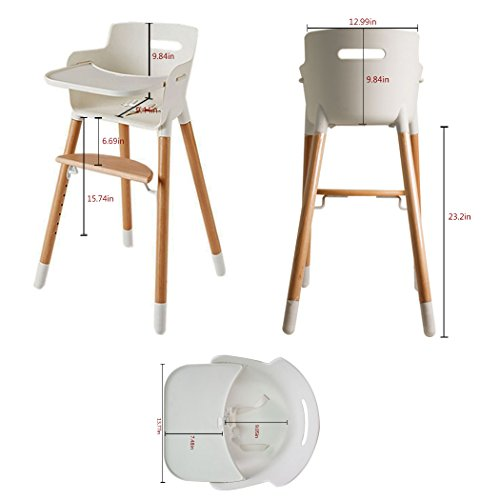 Asunflower Wooden High Chair Adjustable Feeding Baby Highchairs Solution with Tray for Baby/Infants/Toddlers by Asunflower (Image #3)