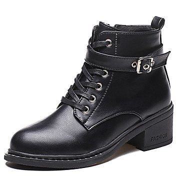 amp;Amp; EU36 Heel Women'S Boots Boots Fall 5 Zipper Pu Toe US5 Bootie Fashion Ankle Outdoor Office Winter Career For Shoes Boots CN35 Booties 5 UK3 Round Chunky RTRY SvqdxZRwv