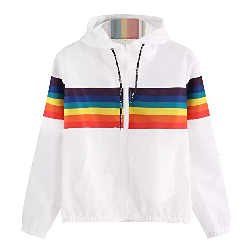 Sunhusing Women's Pure White Round Collar Short Pullover Rainbow Stripe Print Hooded ()