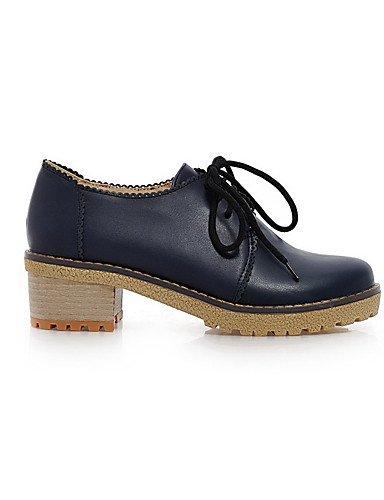 GGX/ Damen-High Heels-Lässig-Kunststoff-Blockabsatz-Absätze / Rundeschuh / Geschlossene Zehe-Schwarz / Blau / Braun / Rot / Beige blue-us6 / eu36 / uk4 / cn36