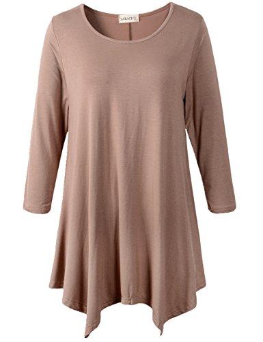 Lanmo Women Plus Size 3/4 Sleeve Tunic Tops Loose Basic Shirt (1X, Khaki) ()