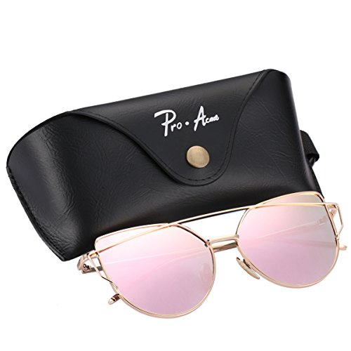 Pro Acme Fashion Metal Frame Cat Eye Sunglasses for Women Mirrored Flat Lens (Baby Pink Mirrored - Eye Cat Sale Sunglasses
