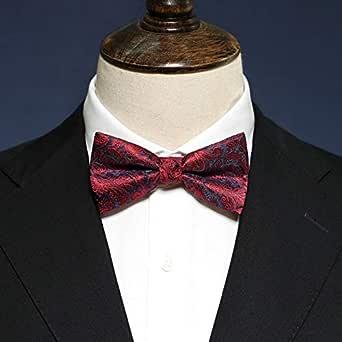 fjchyy Camisa de pajarita negra roja para hombre Camisa de boda ...