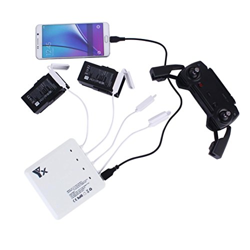 6 In1 AIR Battery Remote Charger Hub Parallel Dual USB For DJI MAVIC AIR Drone (White) by Dreamyth