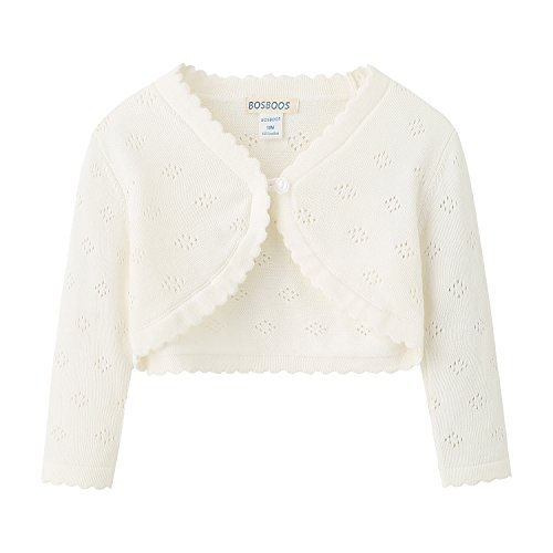 BOSBOOS Little Girls' Long Sleeve Cotton Solid Knit Bolero Cardigan Shrug (3T, (Cotton Girls Sweater)