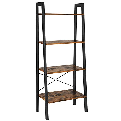 Ladder Shelf, 4-Tier Bookshelf, Storage Rack Shelves, Bathroom, Living Room, Wood Look Accent Furniture Metal Frame, Rustic Brown (Bathroom Furniture Vintage)