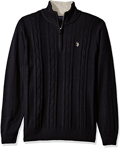 U.S.+Polo+Assn.+Men%27s+Solid+Cable+1%2F4+Zip+Sweater%2C+Navy%2C+Medium