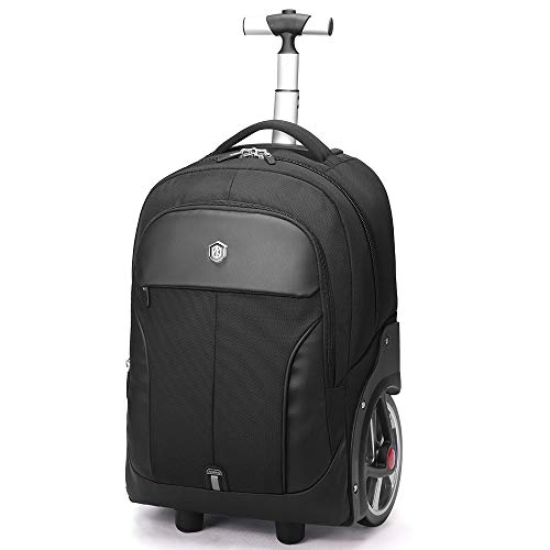 Rolling Travel Backpack Large Wheeled Rucksack Laptop Trolley Black Carry Luggage (18 Inches)
