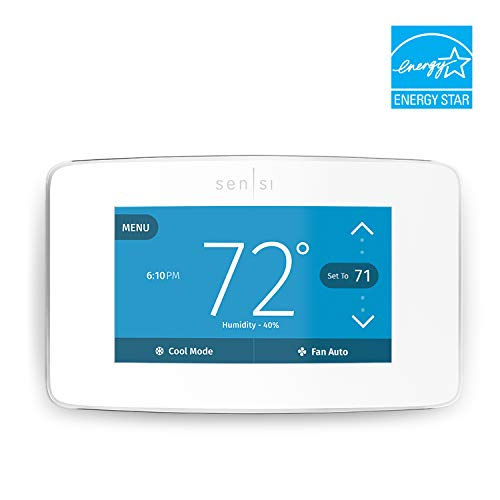 Emerson Sensi Touch Wi-Fi Thermostat with Touchscreen Color Display, White, Energy Star Certified