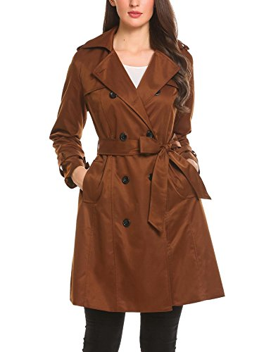 Bulges Women Turn Down Collar Double Breasted Casual A-Line Brown Trench Coat With Belt (Brown Women Coats Down)