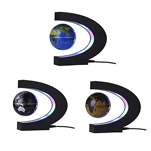MOBITEL Figurines & Miniatures - Globe World Map LED Floating Tellurion C Shaped Magnetic Levitation Floating with LED Lights EU/US/UK/AU Plug for Home Decor 1 PCs