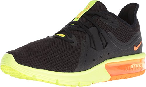 Nike Mens Air Max Sequent 3 Low Top Lace Up, Black/Total Orange-Volt, Size 11.0 (Orange And Yellow Nike Shoes)