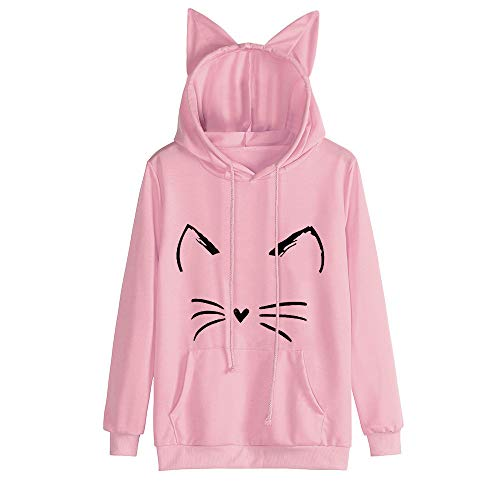 FORUU Women's Cat Hoodies, Cute Printed Winter Pocket Cat Hooded Pullover Sweater