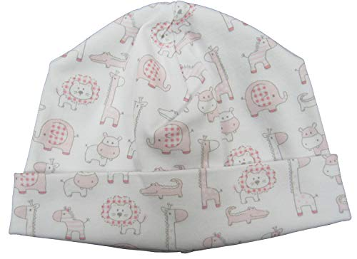 (Kissy Kissy Baby-Girls Infant Jungle Out There Print Hat-White with Pink-Newborn)