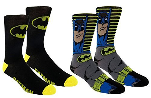Batman Mens Casual Crew Sock Set - Pack of 2,Black/Yellow (Batman And Robin Shoes)