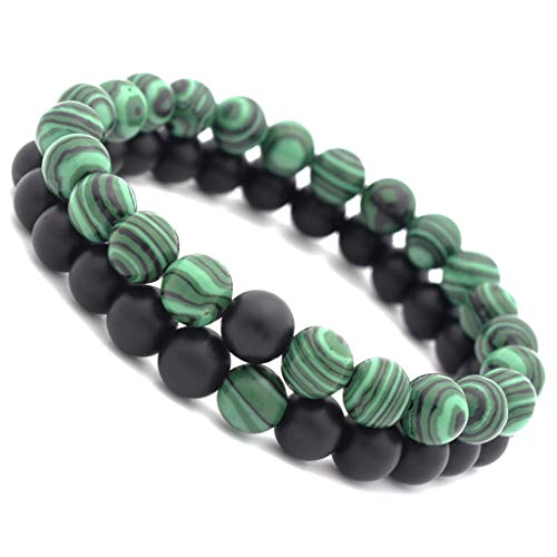 Usstore  2PCS Adults Unisex Natural Stone Bracelet Trip Stripe Printed 8mm Lava Rock Beads Frosted Agate String Gift