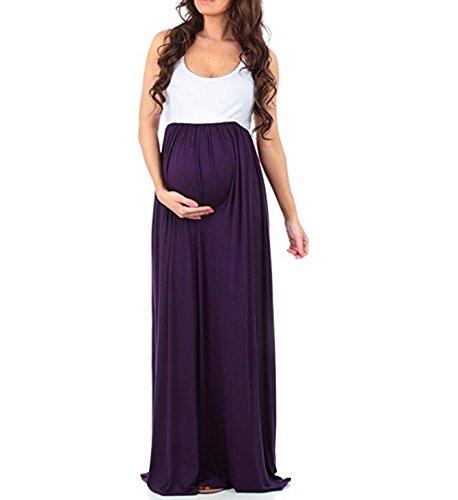 Vestito Maternità Donne Viola Block Di Delle Color Increspato Maniche Maxi q4UT7Cqn