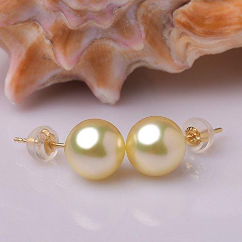 Jareeya-Boucles d'Oreille à tige Or jaune 18ct avec Perfect rond Doré Perles des mers du Sud