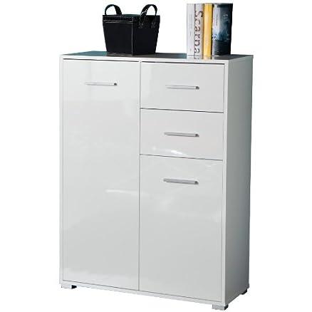 Mobiletto due ante e un cassetto colore laccato bianco: Amazon.it ...