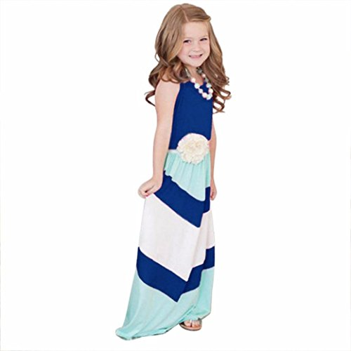 Mosunx(TM) Mother&Daughter Stripe Stitching Dress Casual Family Clothes (Girl size:6T, Blue)