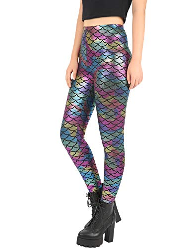 HDE Women's Shimmery Rainbow Mermaid Leggings Sexy Holographic Fish Scale -