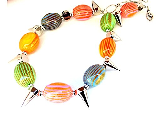 Hand Made Multi Coloured Resin and Silver - tone Acrylic Choker Necklace One of a Kind Quality Statement Jewelry