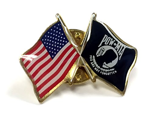 Gettysburg Flag Works POW/MIA Lapel Pin crossed with American Flag, double waving, Made in USA