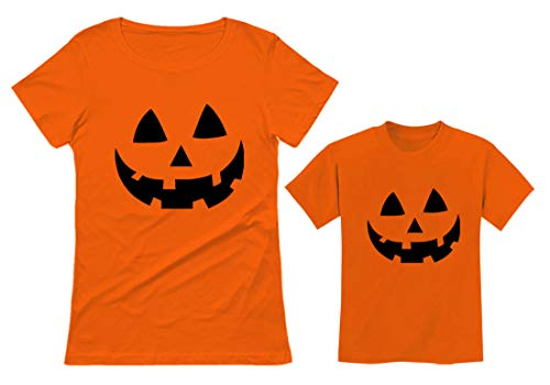 Jack O' Lantern Pumpkin Mom & Toddler Matching Set Cute Halloween Costume Shirts Mom Orange Small/Toddler Orange 3T