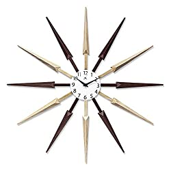 Celeste Dark Wood Spokey Starburst Clock 24 inch Starburst Wall Clock Retro Starburst Clock Midcentury with Quartz Movement Easy Keyhole Hang Sunburst Wall Clock Decor Modern (Multi-Color Wood)
