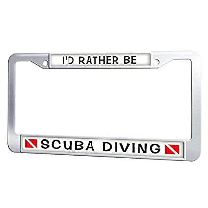 Black License Plate Frame I/'D RATHER BE SCUBA DIVING w//FLAGS Auto Accessory