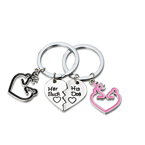 Her Buck His Doe 2 Pcs Couples Gift Heart Puzzle Dog Tag Key Chain BFF's Necklaces Keychain (His Her Doe)