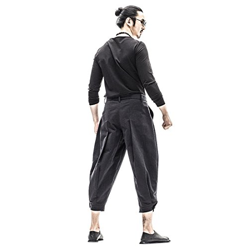 Casual Slim Fit Big and Tall Kung Fu Smith Designer Elastic Waist Linen Trouser Pants for Men