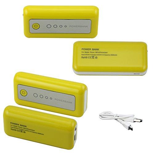 USTOP™Yellow frame-White slice 5600mAh USB Port Power Bank portable charger External Battery for iphone 5 ipad, samsung galaxy S Galaxy Nexus, Blackberry, HTC, LG, Motorola,Nokia