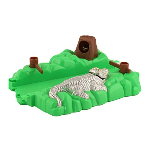 Bend A Path Toy Track Accessory- Alligator Gate and Swamp Track Attachment- Fits ALL Bend A Path Track Vehicle Playsets (Silver)