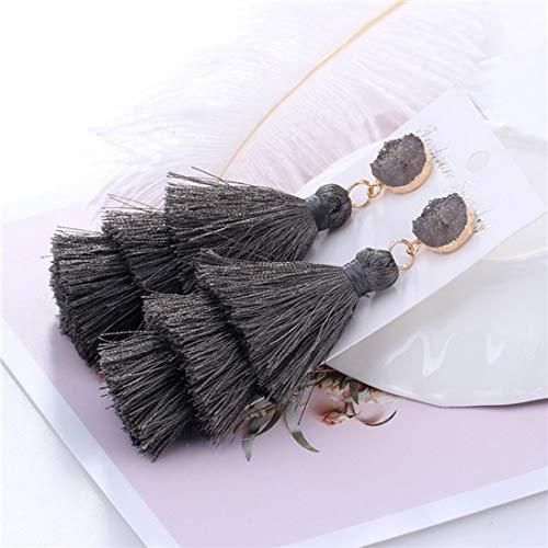 (Boho Bohemian Long Tassel Multi-Layer Earrings Silk Fabric Drop Dangle for Ladie Female Women Party Wedding Statement Jewelry (Gray))