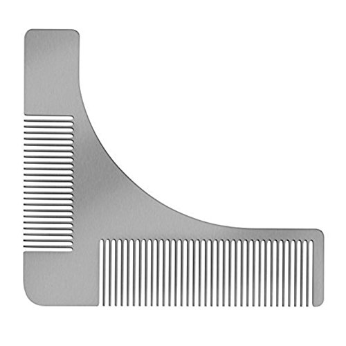 Chige Beard Shaper, Stainless Steel Beard Comb, Goatee Styling and Shaping Template Tool for Perfect Lines & Symmetry Works with Any Beard Razor Electric Trimmers or Clippers