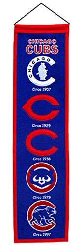 Winning Streak Fan Shop Authentic MLB Heritage and Baseball Team Felt Embroidered Logo Banner. Office, Bar or Man Cave (Chicago Cubs v2)